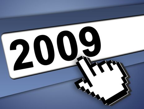 2009 new year Graphic bar with mouse pointer , on blue background