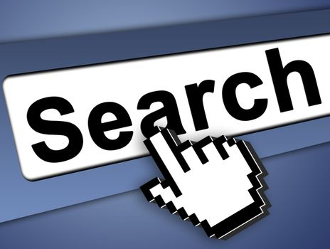 search bar on computer with mouse pointer , on blue background
