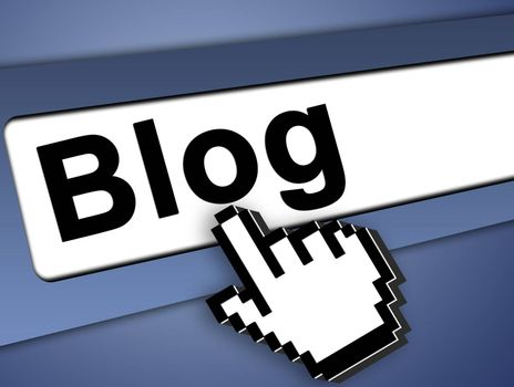 Blog Graphic bar with mouse pointer , on blue background