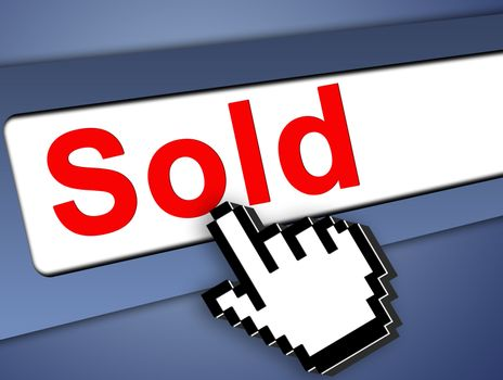 Sold Graphic bar with mouse pointer , on blue background