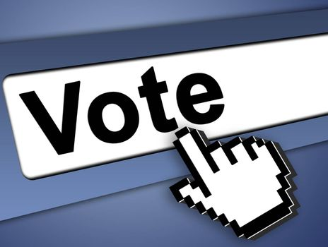 Vote Graphic bar with mouse pointer , on blue background