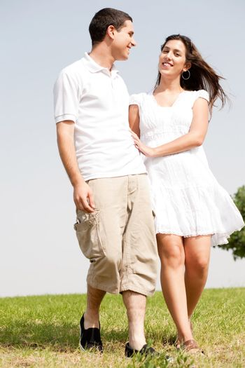 young love couple walk togther and smiling