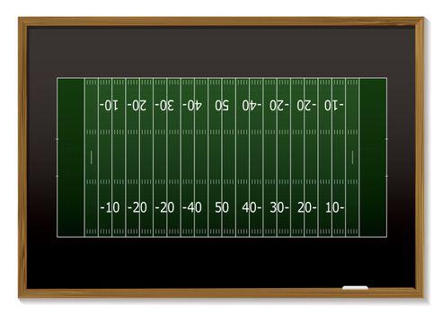 American football field with chalk markings on black board