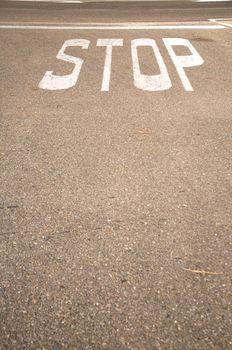 stop on asphalt