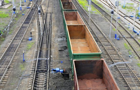 Freight train on a city cargo terminal