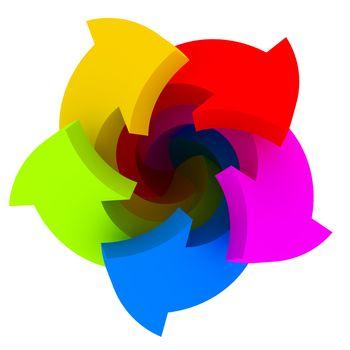 Five vibrant arrows of colours of a spectrum