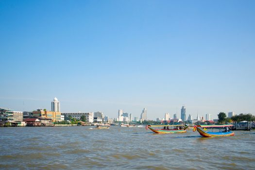 Boats on the Chao Phraya river in Bangkok