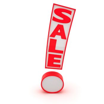 """Exclamation mark with word """"Sale"""" isolated on the white background"""