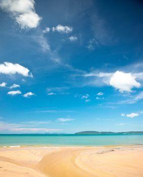 Sandy beach and turquoise sea, Krabi province, Thailand