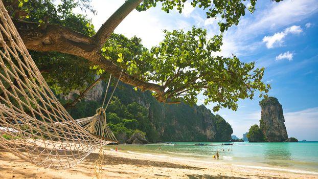 Hammock on the sandy beach, Thailand, Krabi province