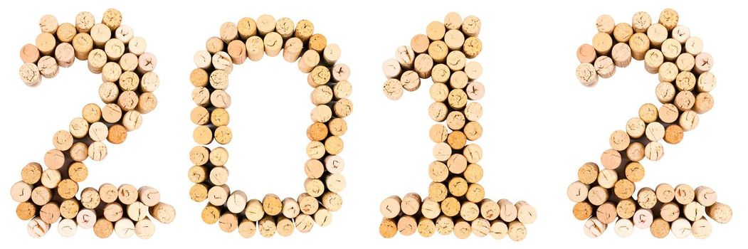 Inscription '2012' from the wine corks on white background