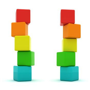 Two cube towers isolated on the white background