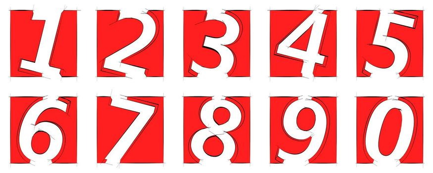 Set of white digits in red squares