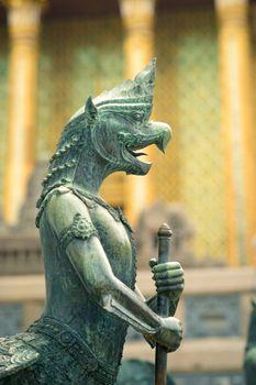 Sculpture of mythological warrior in Grand Palace, Bangkok, Thailand