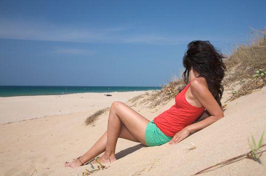 lie down on sand beach