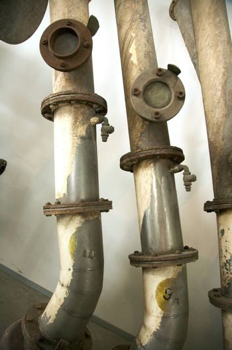 old industrial metal pipes