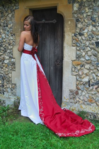 bride in red and white