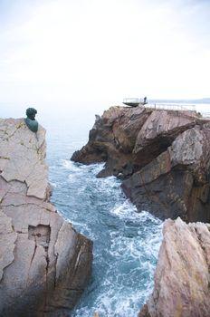 head and platform at coastline