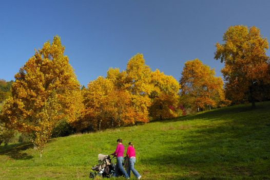 Two young mothers walk with their pushchairs past trees bright with autumn colours.