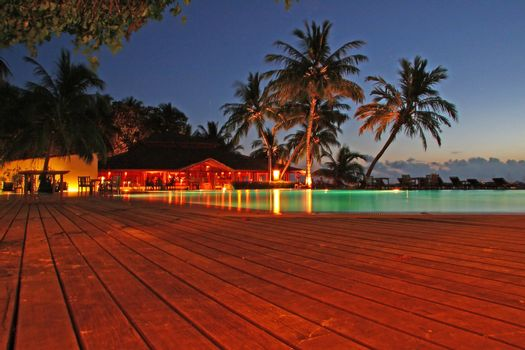 Poolview photographed in the evening at Meeru, Maldives