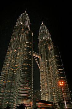 Nightscene of the twin towers in Kuala Lumpur