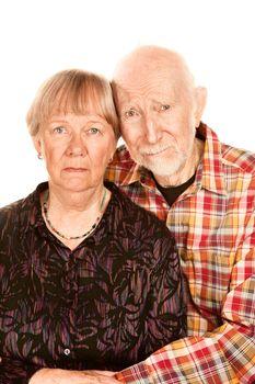 Concerned senior couple