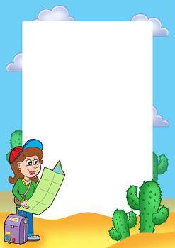 Frame with girl traveller
