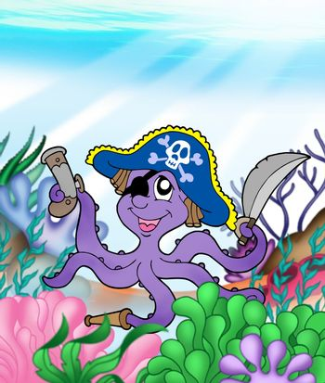 Pirate octopus underwater