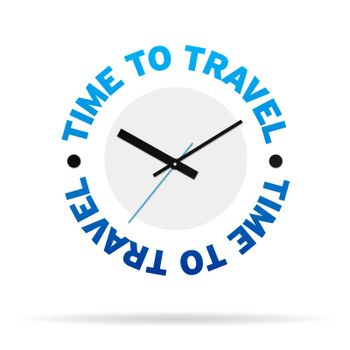 Clock with the words time to Travel on white background.