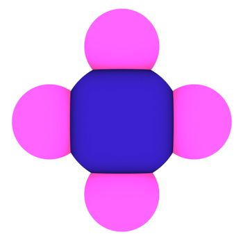 Isolated 3d model of methane - CH4 molecule