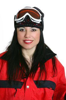 Smiling female skier