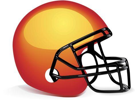 Vector orange american football helmet on white