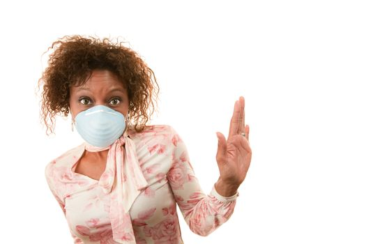 Woman with breathing mask