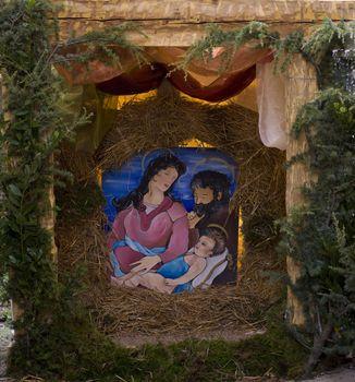 Nativity scene in a Christmas market