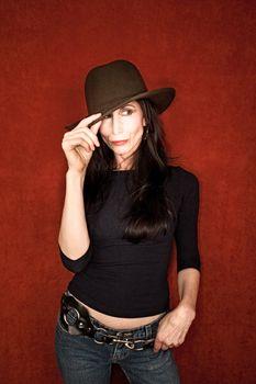 Beautiful woman in felt hat