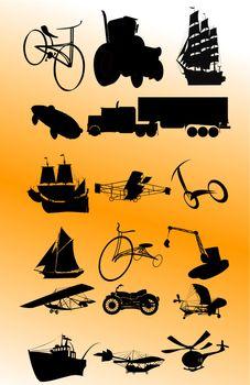 Vintage transportation set; vector