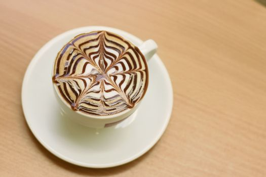 Capuccino on a cafe table
