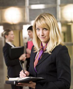 Businesswoman organize her calendar