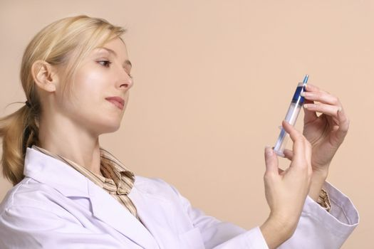 Healthcare worker with a syringe