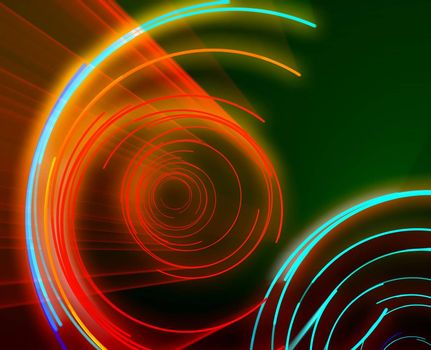 Glowing neon abstract circles, laser disco lighshow