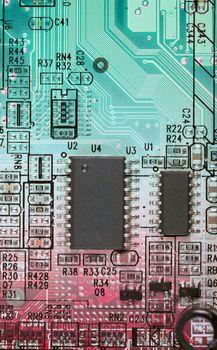 Abstract multi-color circuit board