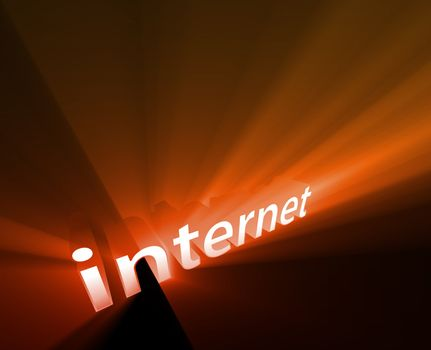 Internet technology word graphic, with glowing light effects