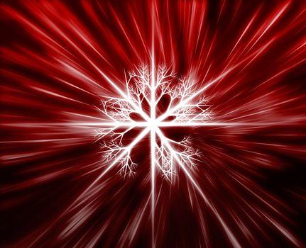 Snowflake crystal pattern illustration, glowing light flares