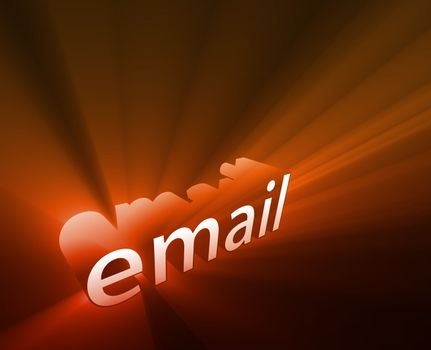 Email internet word graphic, with glowing light effects