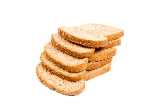 perfect slices of bread isolated on a white background