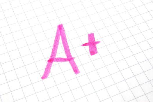 mark A plus showing positive success at school
