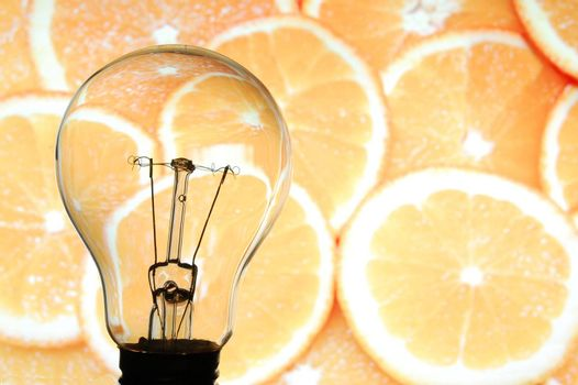 bulb and fruit showing concept of healthy food