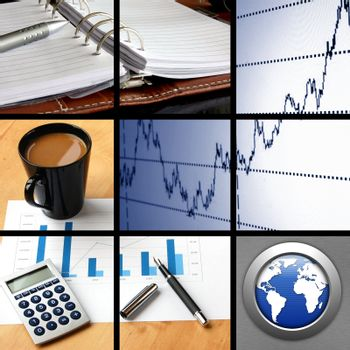 collage with success business and financial images