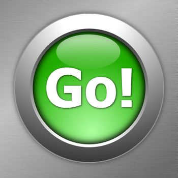 green go button on metal a texture
