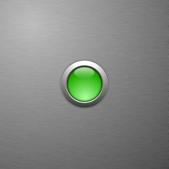 green blank button with copyspace on metal surface